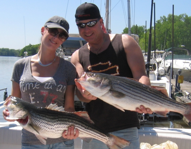 We had fun catching Hudson River stripers.