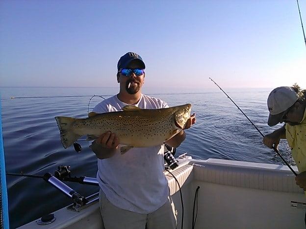 Lake Ontario brown trout fishing lead core catch